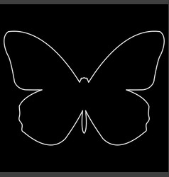 Butterfly the white path icon vector