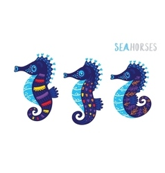 Cartoon family sea horse set vector