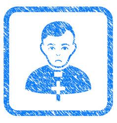 Catholic priest framed stamp vector