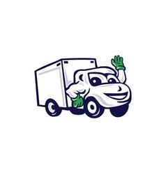 Delivery van waving cartoon vector