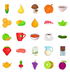 dietetic icons set cartoon style vector image