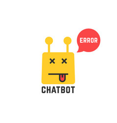 Erroneous yellow chatbot icon on white vector