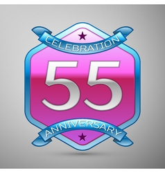 Fifty five years anniversary celebration silver vector