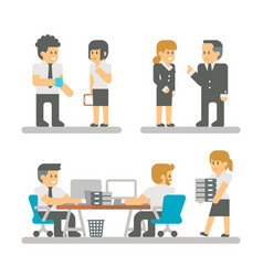 flat design cartoon meeting business people vector image vector image