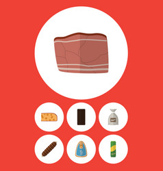 Flat icon food set of beef spaghetti canned vector