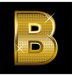 Golden font type letter B vector image vector image