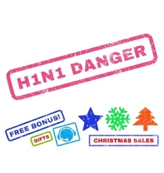 H1n1 danger rubber stamp vector