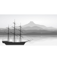 Landscape with detailed old ship and mountains vie vector