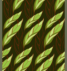 Seamless floral pattern of leaves on a dark vector
