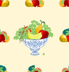 Seamless texture fruit faience bowl healthy food vector image
