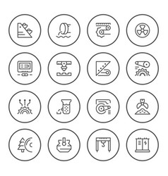 set round line icons of industry vector image vector image