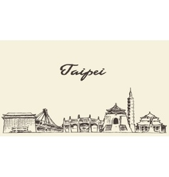 Taipei skyline drawn sketch vector image vector image