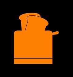 Toaster simple sign orange icon on black vector