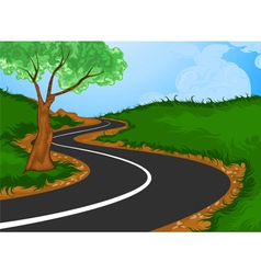 Tree with the road into the countryside vector image vector image