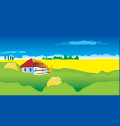 ukrainian landscape with country house vector image vector image