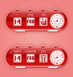 Valentine day with flap clocks and number counter vector image