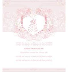 Wedding dancing couple invitation card vector