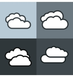 White flat cloud icons on color background vector image vector image