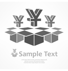 Yen signs in boxes vector image vector image