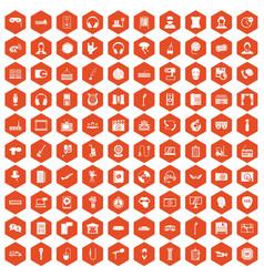 100 microphone icons hexagon orange vector