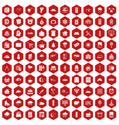 100 windows icons hexagon red vector