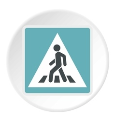 Sign pedestrian crossing icon flat style vector