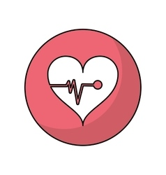 Heart with pulse of medical care design vector