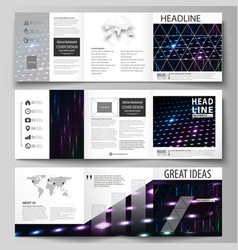 Business templates tri fold square brochures vector