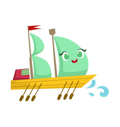 Sailing big boat with paddles cute girly toy vector