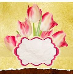 Vintage tulips polka dot template eps 10 vector