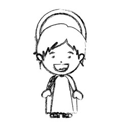 Monochrome blurred silhouette of child jesus vector