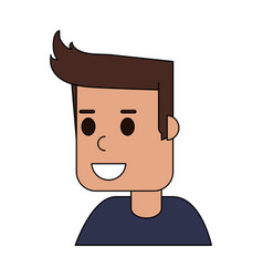 Color image cartoon side view half body guy with vector