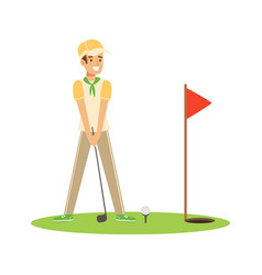 Smiling man golfer hitting the ball vector