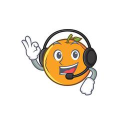 Orange fruit cartoon character with headphone vector
