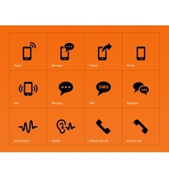 Phone icons on orange background vector