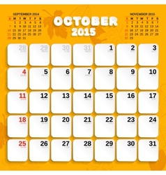 October month calendar 2015 vector