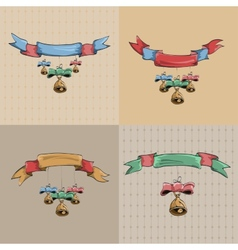 Set of vintage ribbons and bells vector