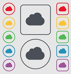 Cloud icon sign symbol on the round and square vector