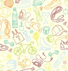 Color sport and fitness seamless doodle pattern vector