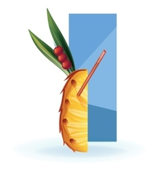 Slice of exotic fruit decorated like cocktail vector