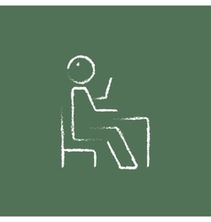 Sitting student with raised arm icon drawn in vector
