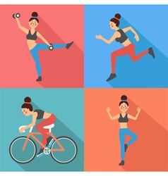 Fitness woman exercises in flat style vector