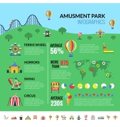 Amusemennt park attractions visitors infographics vector