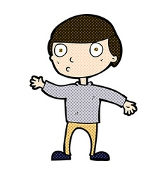 Comic cartoon waving man vector