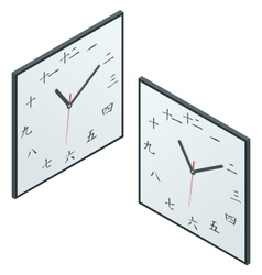 Japanese clock japanese character wall clock vector