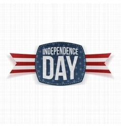 Independence day paper label with type and ribbon vector