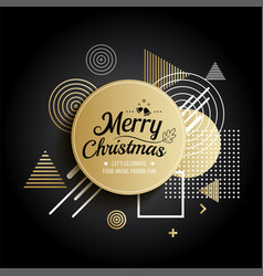 abstract meryy christmas gold circle geometric vector image vector image