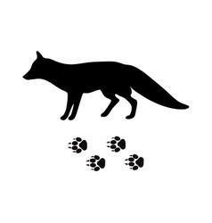 Black silhouette fox wild animal zoo vector