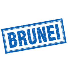 Brunei blue square grunge stamp on white vector