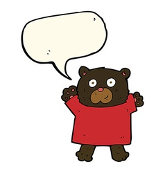 cartoon cute black bear with speech bubble vector image